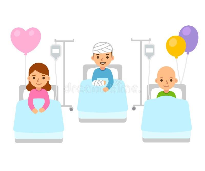 Crianças na ilustração do hospital ilustração royalty free