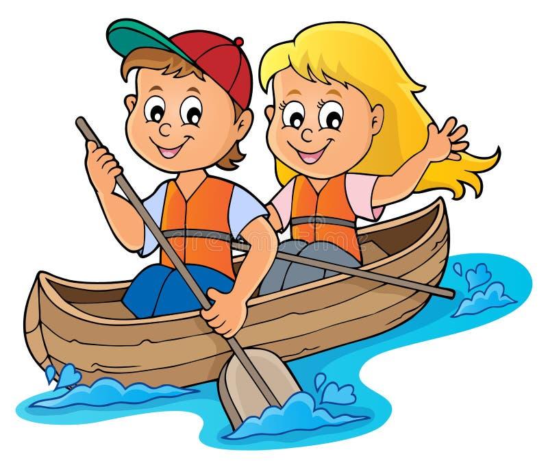 Crianças na imagem 1 do tema do barco ilustração do vetor