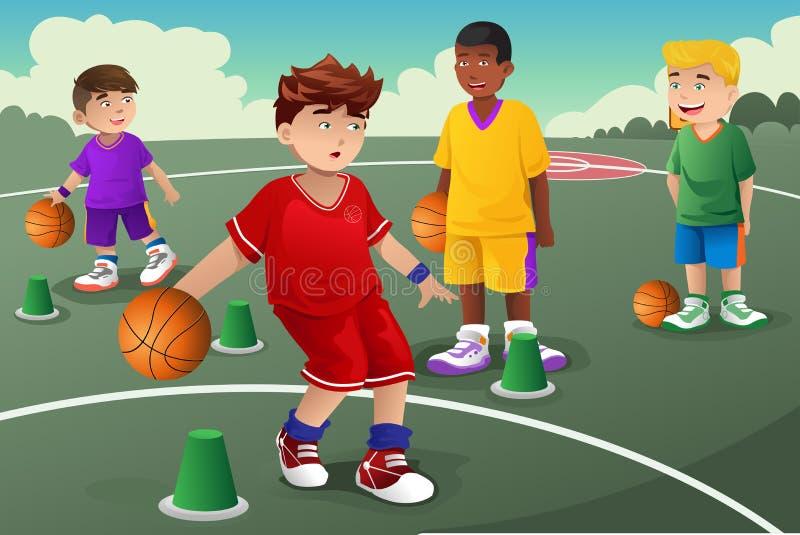 Crianças na prática do basquetebol ilustração royalty free