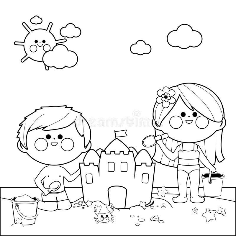 Crianças na praia que constrói um castelo de areia Página preto e branco do livro para colorir ilustração do vetor