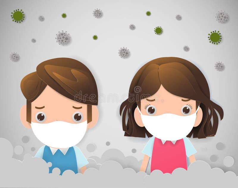 Crianças nas máscaras devido à poeira fina PM 2 máscara vestindo de 5, de menino e de menina contra a poluição atmosférica Poeira ilustração royalty free