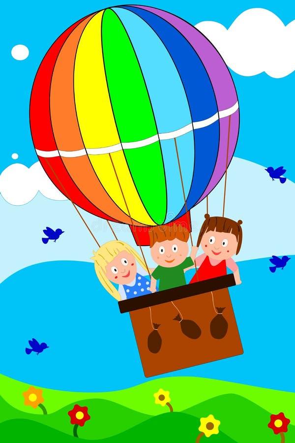 Crianças no balão ilustração stock