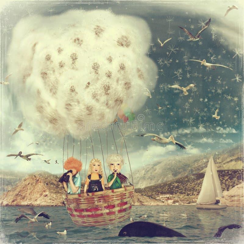 Crianças no balão ilustração royalty free