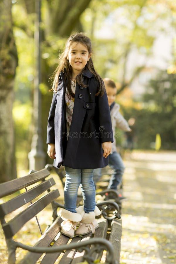Crianças no banco imagem de stock royalty free