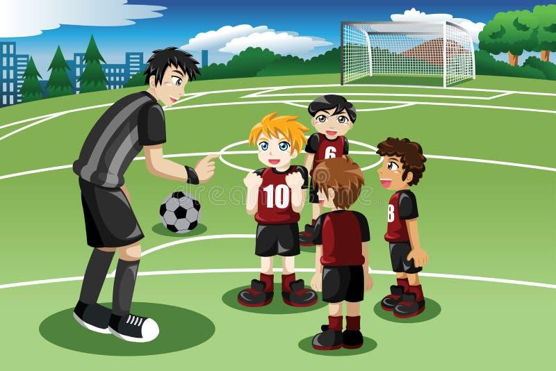 Crianças no campo de futebol que escutam seu treinador ilustração stock