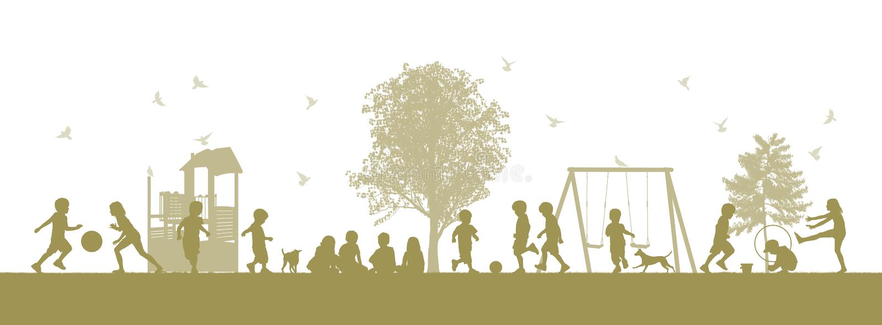 Crianças no campo de jogos ilustração royalty free