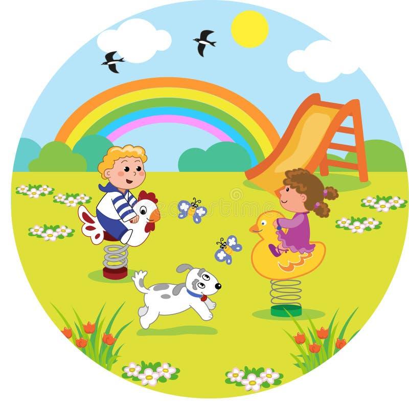 Crianças no campo de jogos no tamanho redondo ilustração do vetor