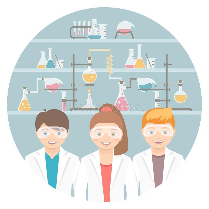 Crianças no conceito liso da educação da classe de química ilustração stock