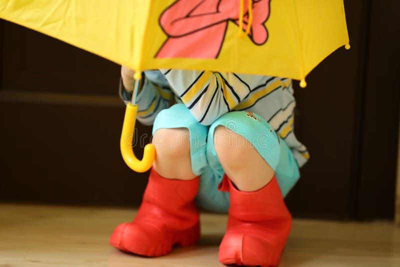 Crianças no desgaste colorido dos rainboots consideravelmente fresco e nos guarda-chuvas fotos de stock