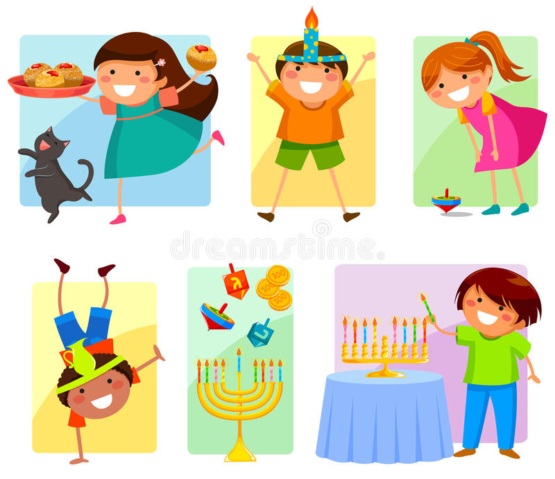 Crianças no Hanukkah ilustração do vetor