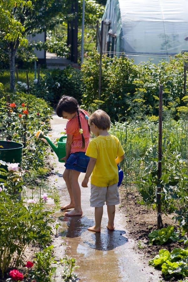 Crianças no jardim fotografia de stock