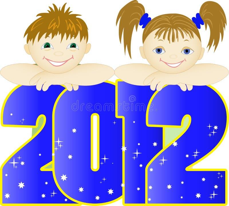 Crianças no número azul ilustração royalty free