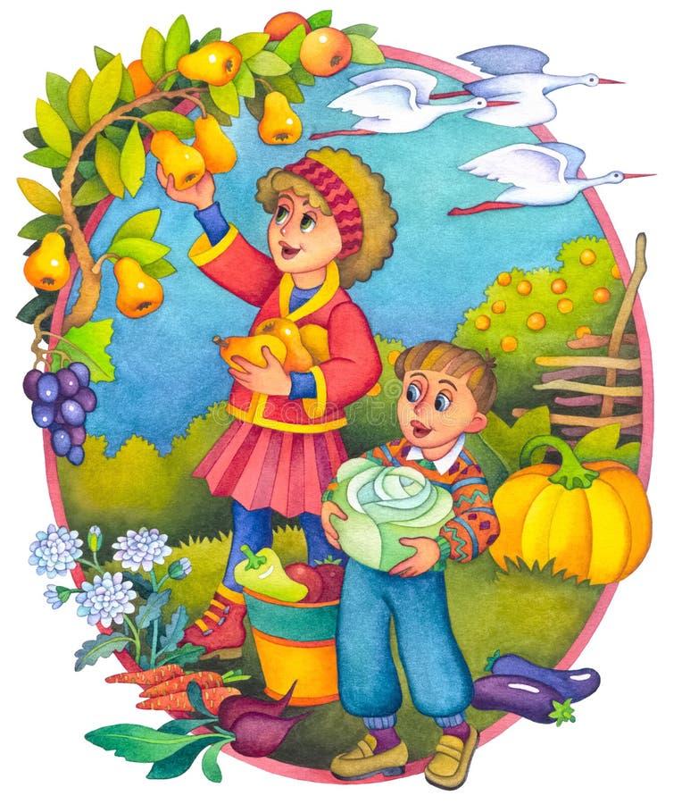 Crianças no outono ilustração stock