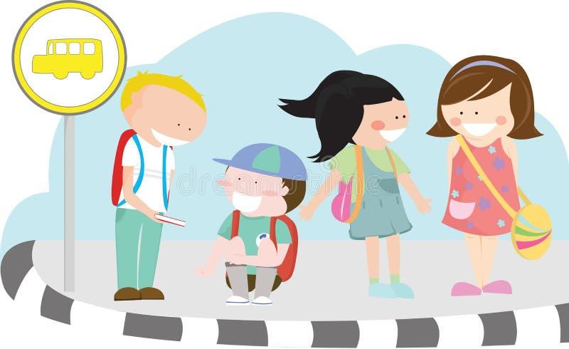 Crianças no paragem do autocarro ilustração stock