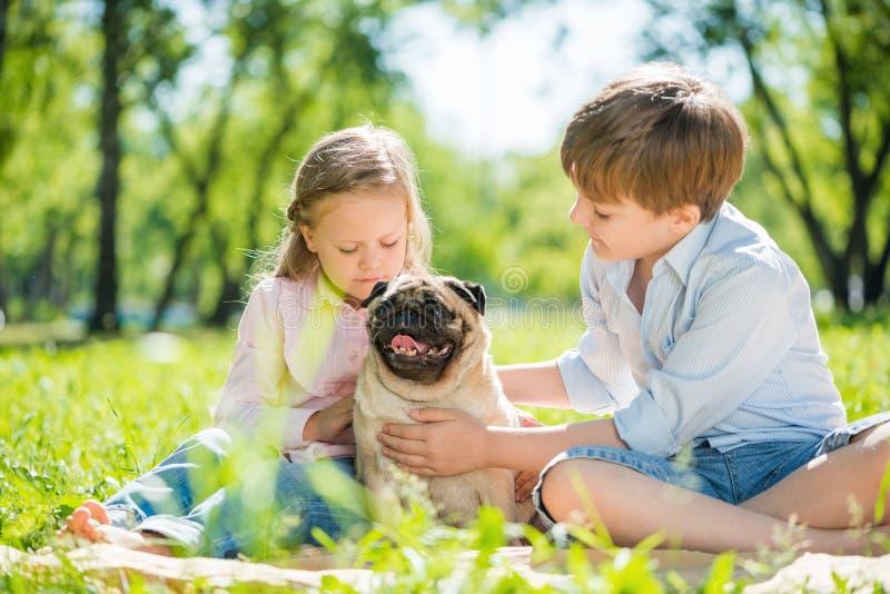 Crianças no parque com animal de estimação imagens de stock