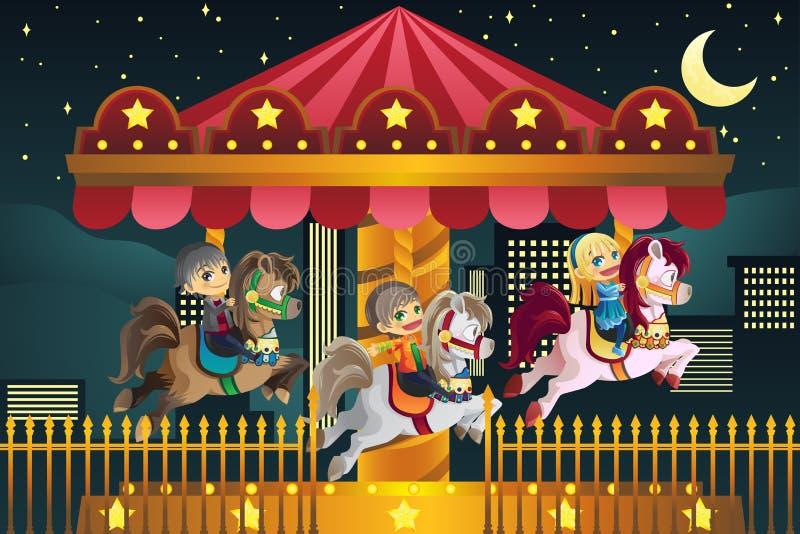 Crianças no parque de diversões ilustração royalty free