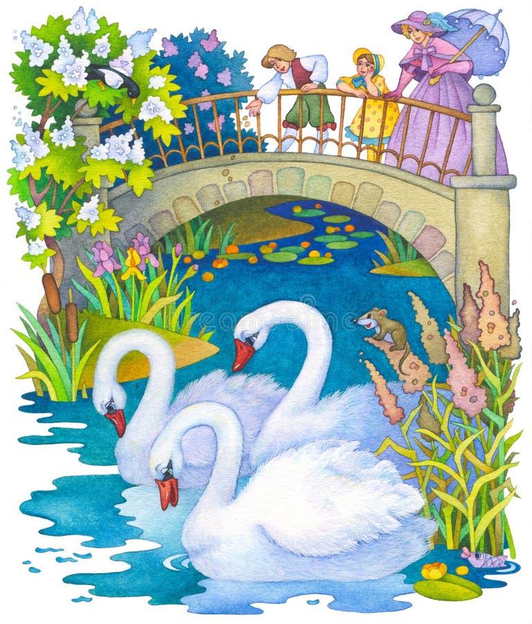 Crianças no parque que alimenta as cisnes na lagoa ilustração do vetor