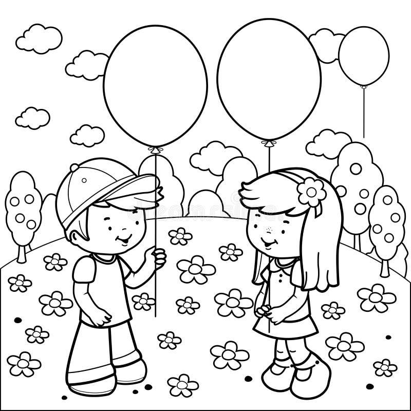 crian u00e7as no parque que joga com bal u00f5es p u00e1gina do livro para colorir ilustra u00e7 u00e3o do vetor