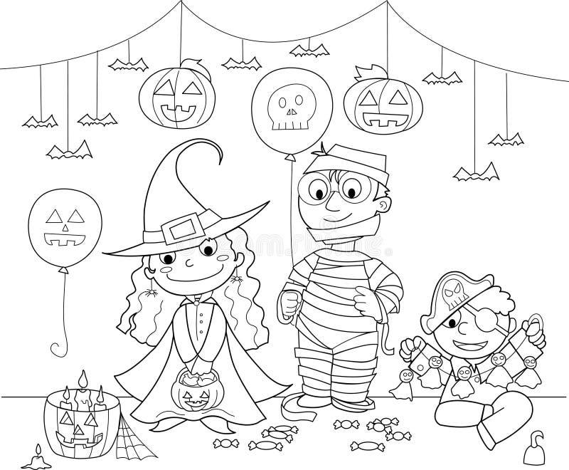 Crianças no partido de Halloween ilustração do vetor