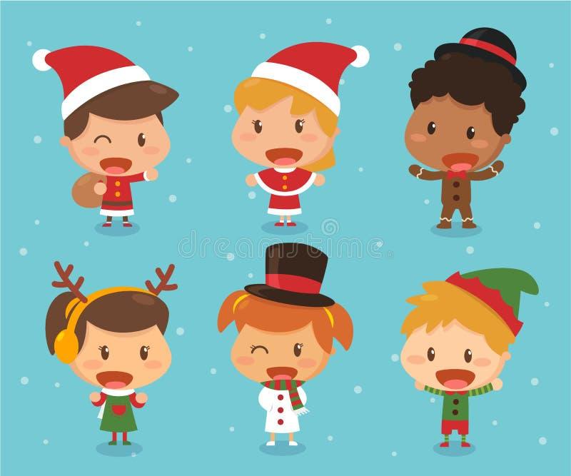 Crianças no tema do Natal ilustração do vetor