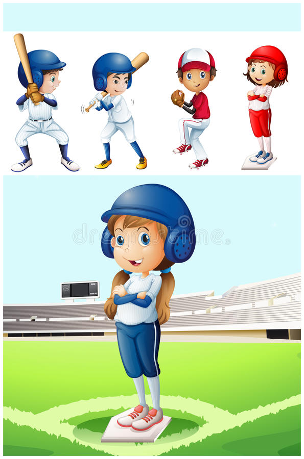 Crianças no uniforme do basebol no campo ilustração stock