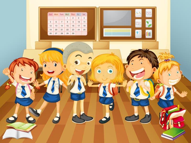 Crianças no uniforme na sala de aula ilustração royalty free