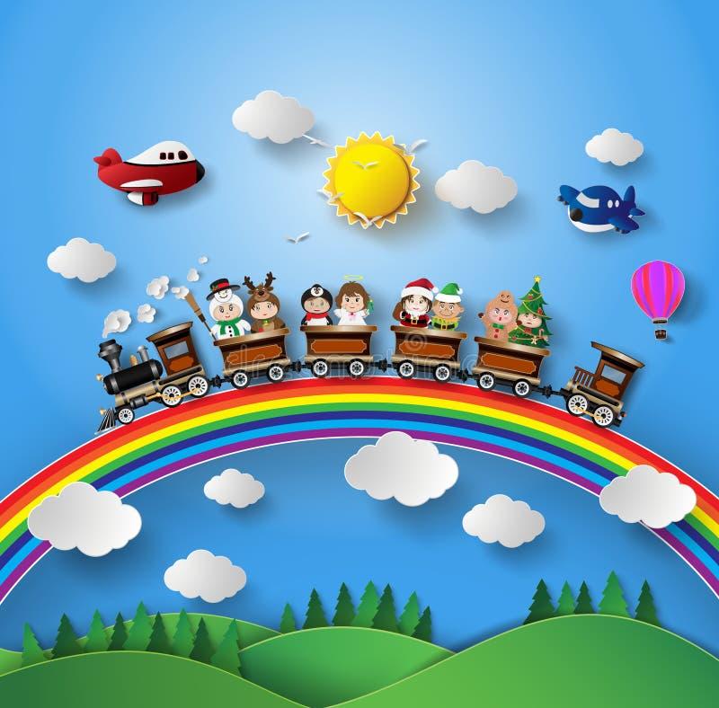 Crianças no vestido de fantasia que senta-se no trem ilustração royalty free