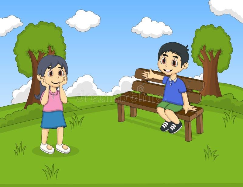 Crianças nos desenhos animados do parque ilustração stock