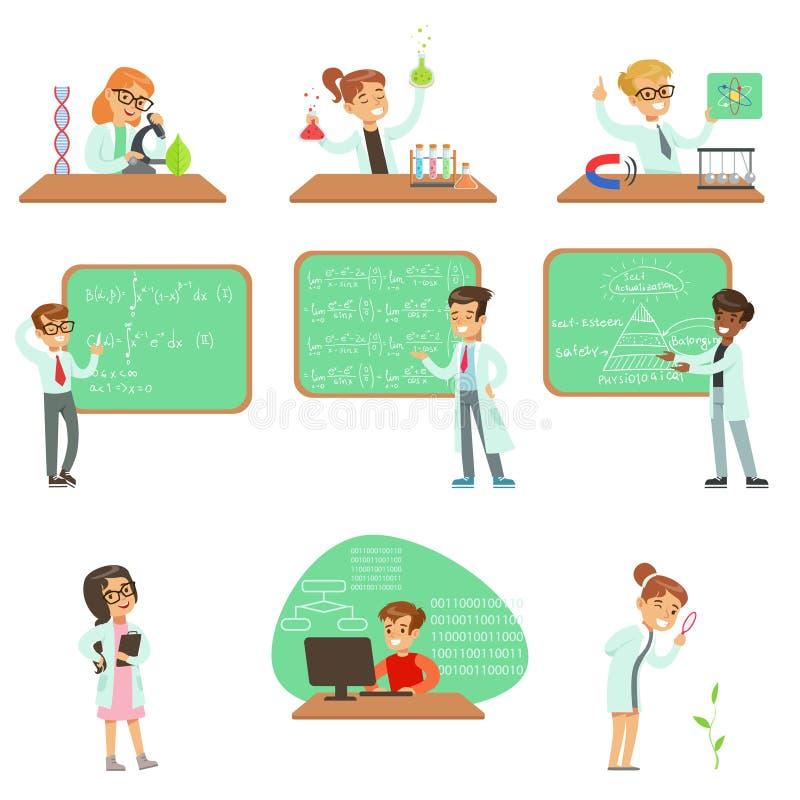 Crianças nos revestimentos do laboratório que fazem a pesquisa da ciência que sonham dos cientistas profissionais tornando-se no  ilustração stock