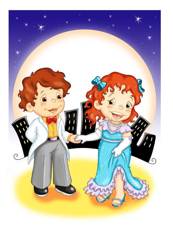 Crianças. O convite à dança ilustração do vetor