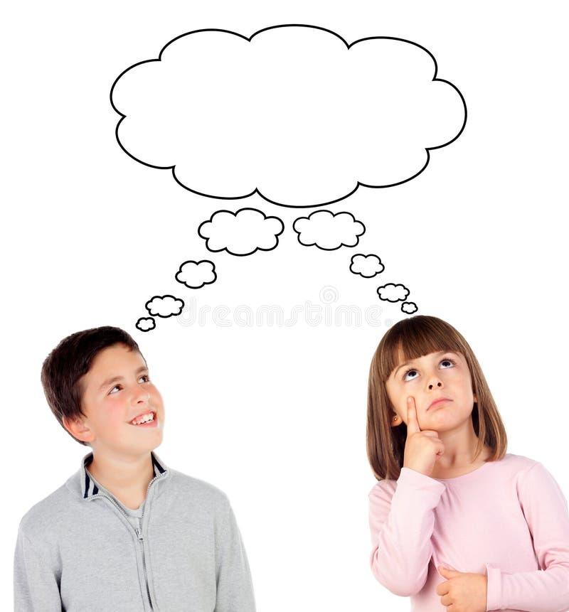 Crianças pensativas fotografia de stock royalty free