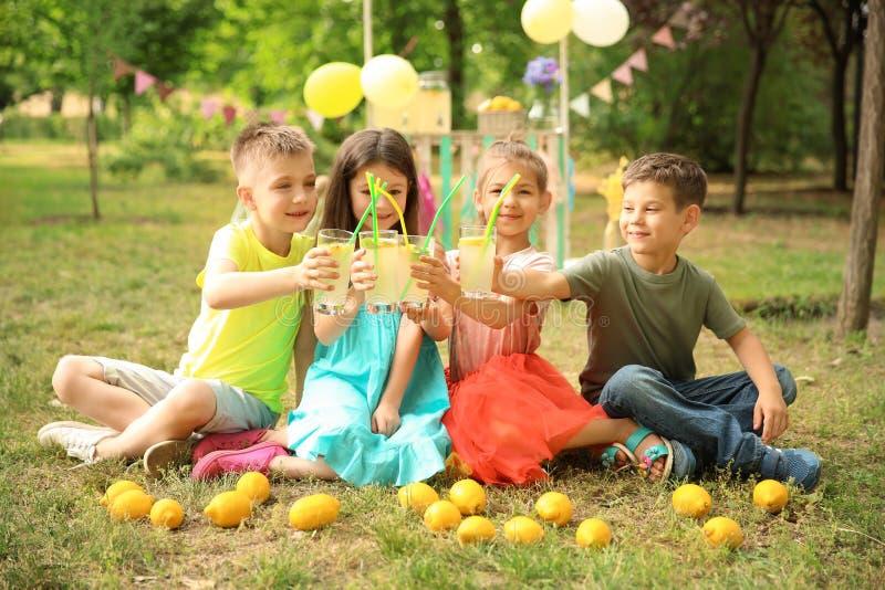 Crianças pequenas com limonada natural no parque imagens de stock