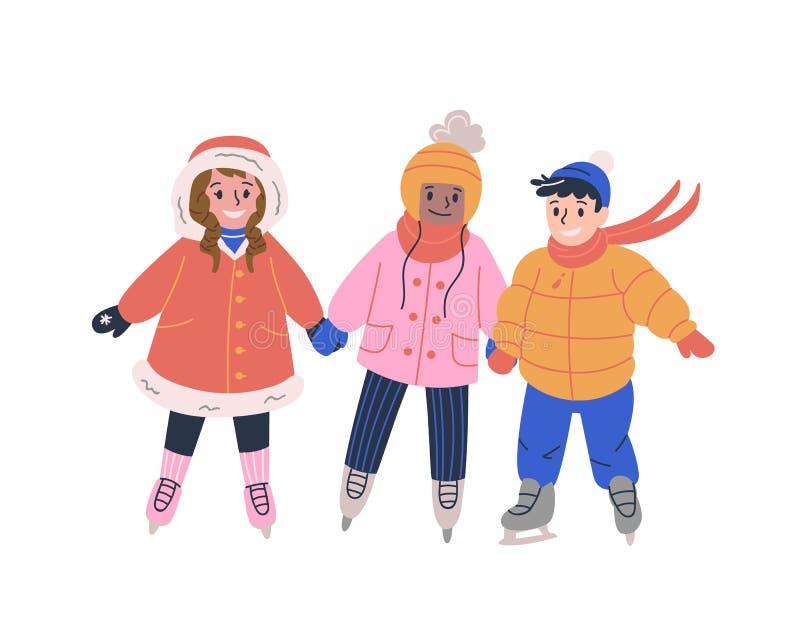 Crianças pequenas felizes que patinam na pista de gelo e que têm o divertimento ilustração royalty free