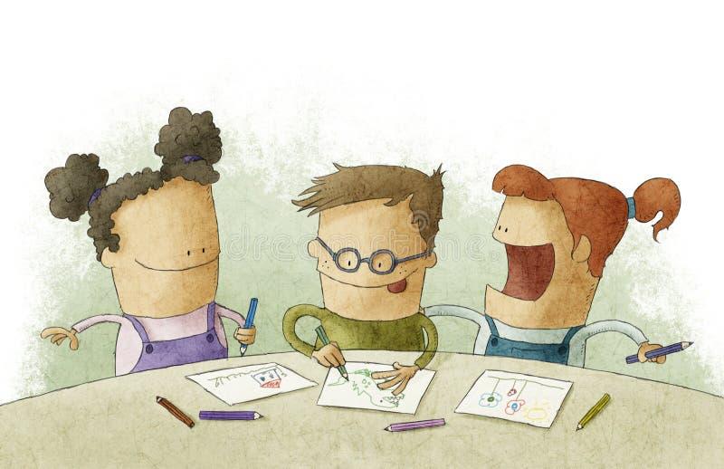 Crianças pequenas na sala de aula que faz ofícios ilustração royalty free