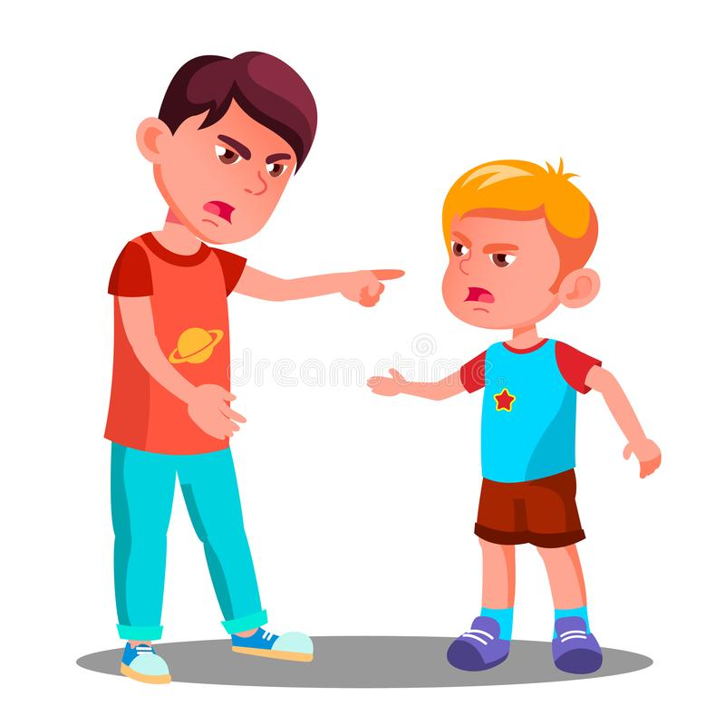 Crianças pequenas no conflito no vetor do campo de jogos discuta Ilustração isolada ilustração do vetor