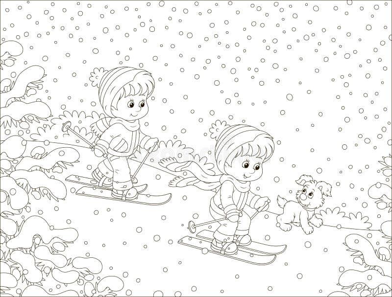 Crianças pequenas que esquiam abaixo de um monte da neve ilustração do vetor