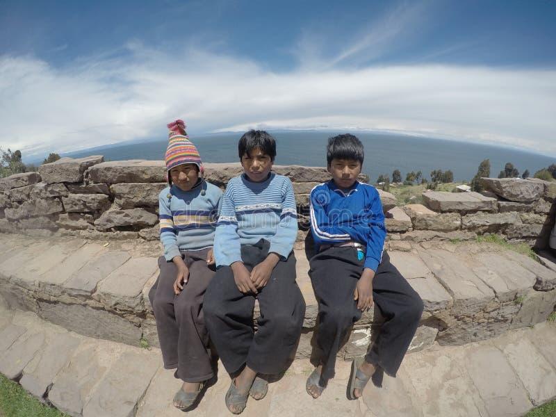 Crianças peruanas fotografia de stock
