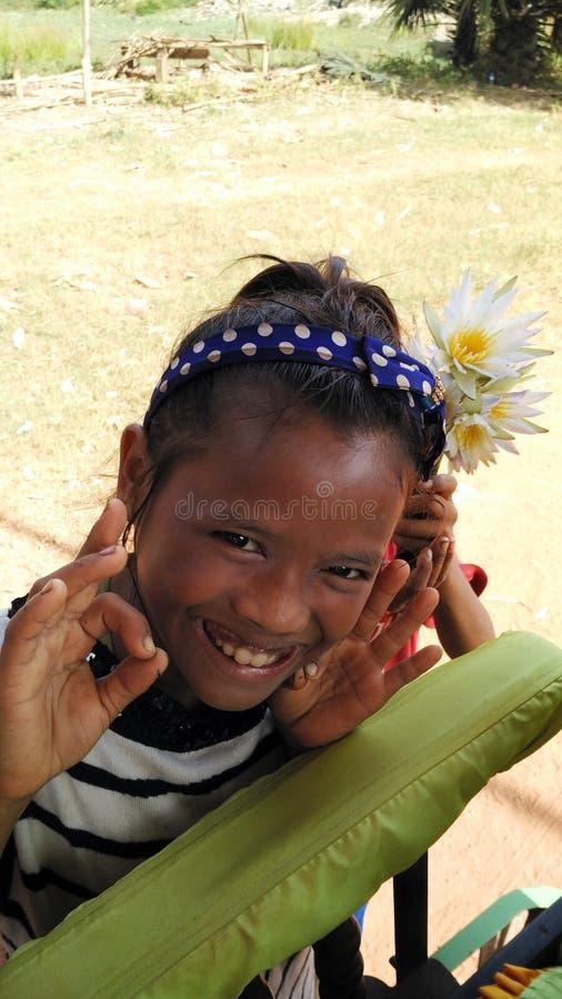 Crianças pobres alegres de Camboja foto de stock