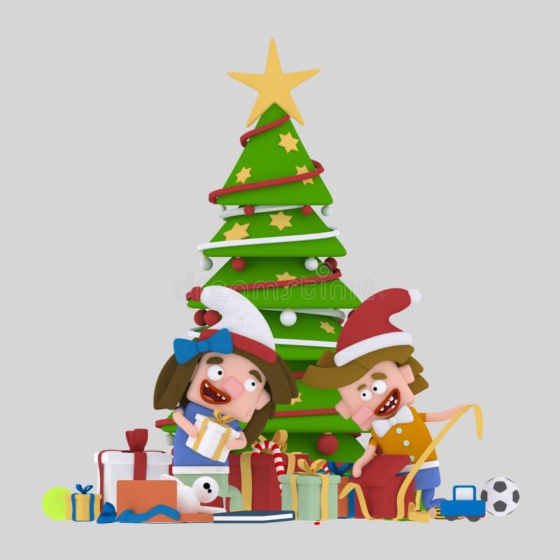 Crianças que abrem presentes na frente da árvore de Natal 3d ilustração do vetor