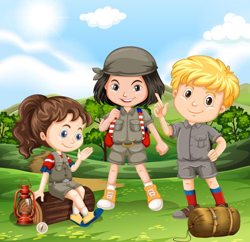 Crianças que acampam para fora no parque ilustração stock