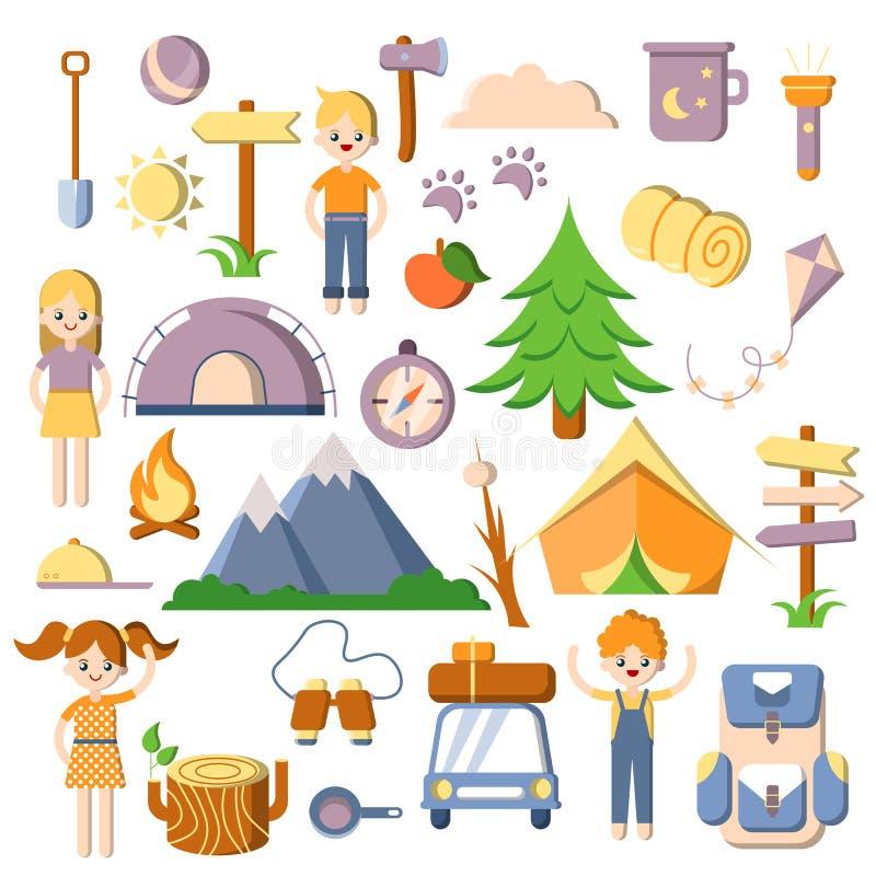 Crianças que acampam, plano do verão do vetor, grupo dos desenhos animados de ícones do acampamento Barraca, árvores, carro, cria ilustração royalty free