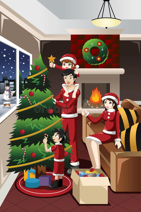 Crianças que ajudam os pais que decoram a árvore de Natal ilustração royalty free
