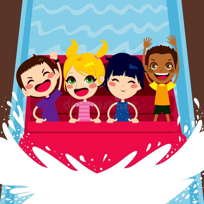 Crianças que apreciam o passeio do barco da água ilustração do vetor