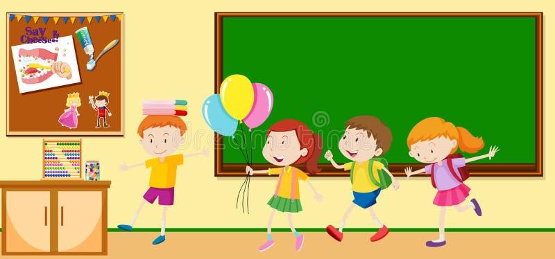 Crianças que aprendem na sala de aula ilustração royalty free