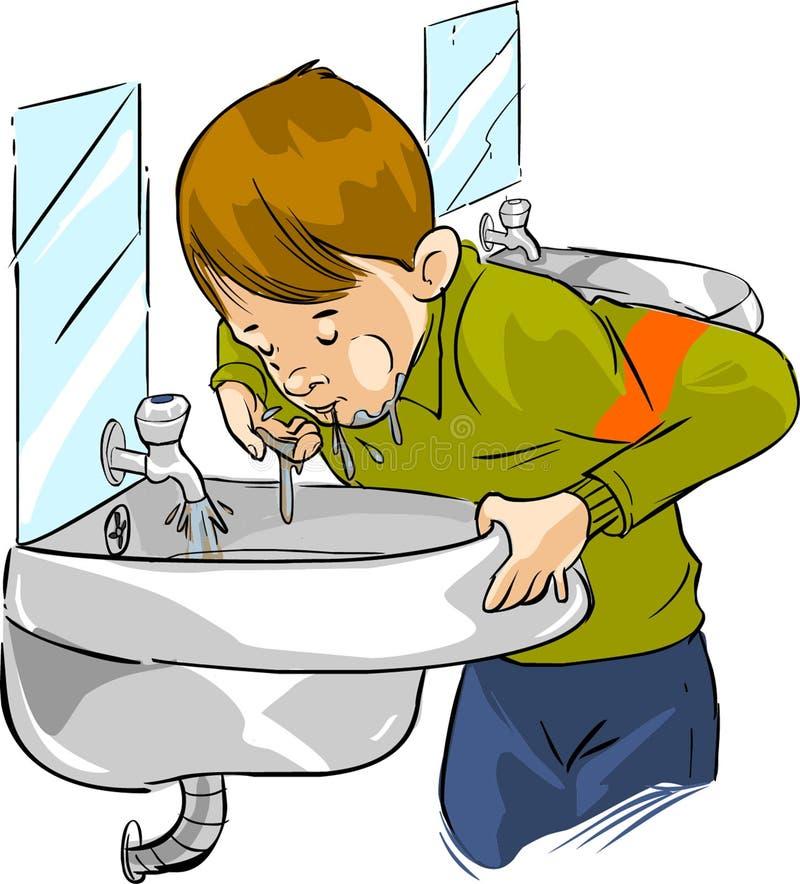 Crianças que bebem a água suja ilustração do vetor