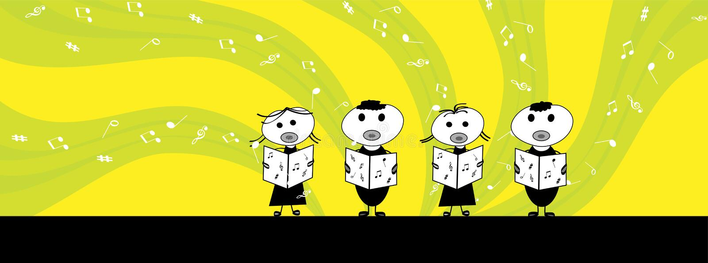 Crianças que cantam ilustração royalty free