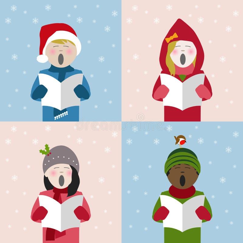 Crianças que cantam músicas de natal do Natal na neve ilustração stock