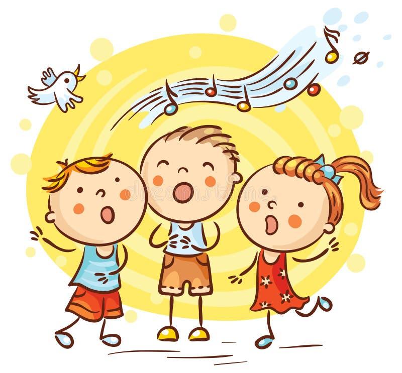 Crianças que cantam músicas, desenhos animados coloridos ilustração stock