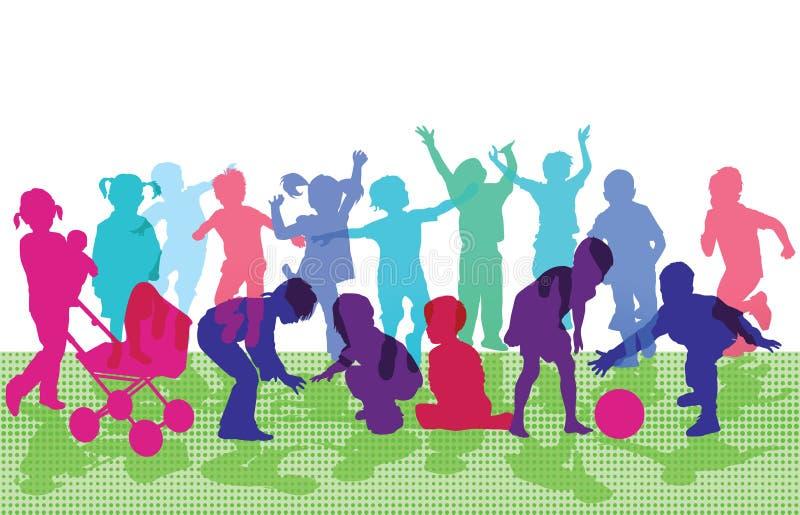 Crianças que cheering e que jogam ilustração royalty free