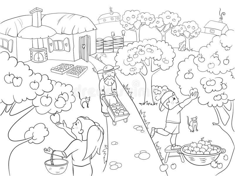 Crianças que colorem desenhos animados no tema do vetor da colheita ilustração royalty free
